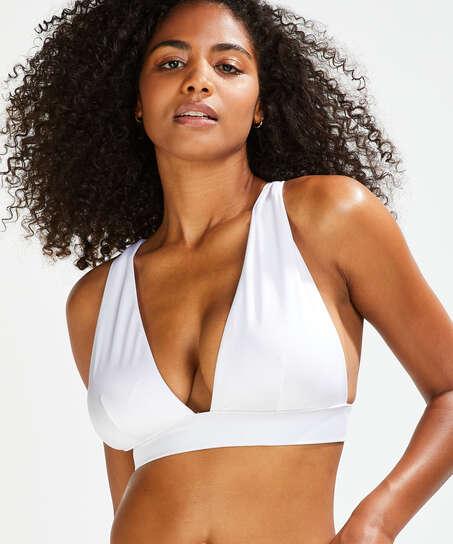 Top de bikini triangular Lola, Blanco