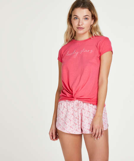 Top de pijama de manga corta Jersey Nudo, Rojo