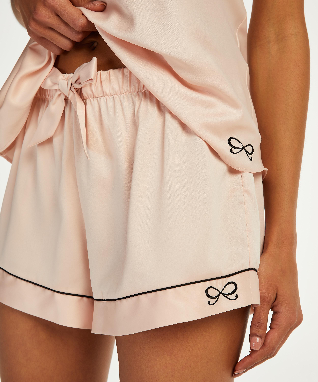 Pantalón corto de pijama satin lace, Rosa, main