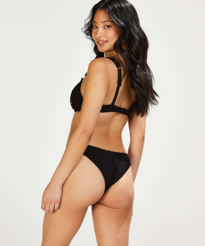 Top de bikini push-up con aros preformado Crochet Copa A - E, Negro, main