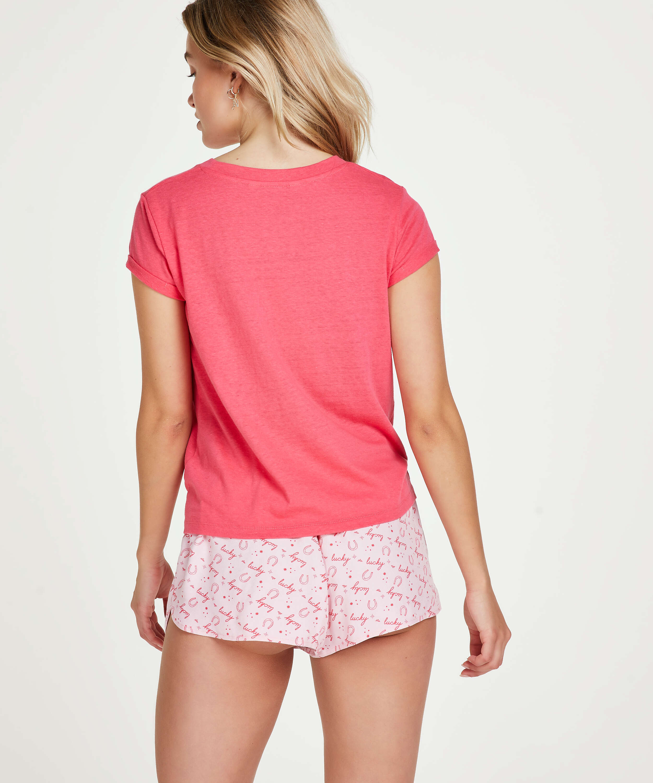Top de pijama de manga corta Jersey Nudo, Rojo, main