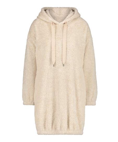 Vestido de polar acurrucado, Beige