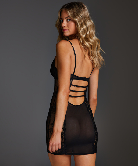 Vestido lencero con aros preformado Sosha, Negro