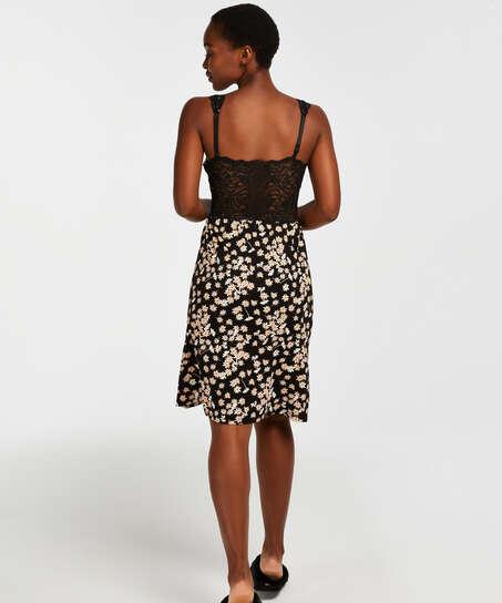Vestido combinación con encaje modal Daisy, Negro