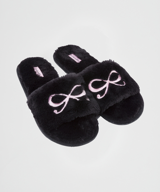 Zapatillas con lazo superior de polipiel, Negro
