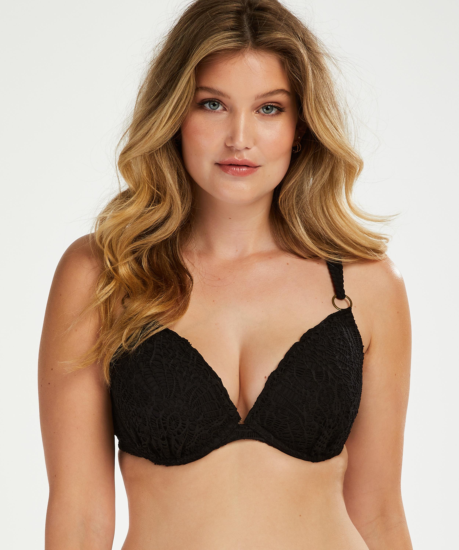 Top de bikini Crochet con aros preformado, Negro, main