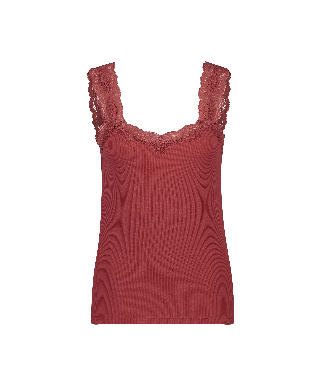 Camiseta sin mangas de punto y encaje, Rosa, main