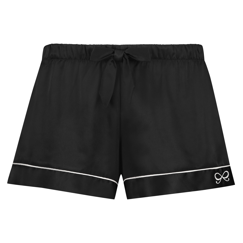 Pantalón corto de pijama satin lace, Negro, main