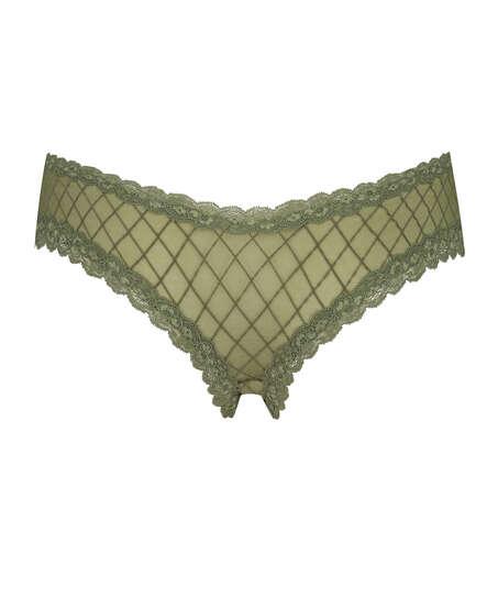 Brasileña en forma de V burn-out mesh, Verde