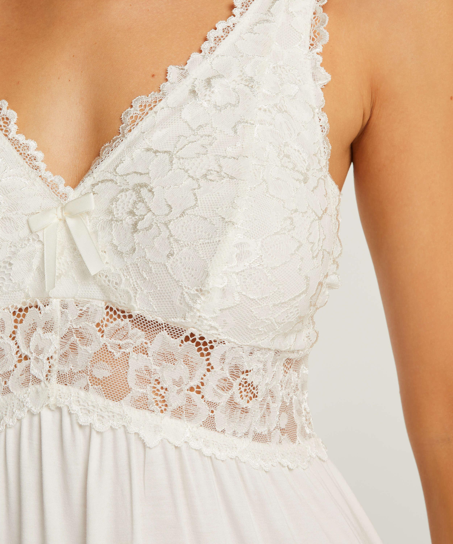 Vestido combinación Modal Lace, Blanco, main