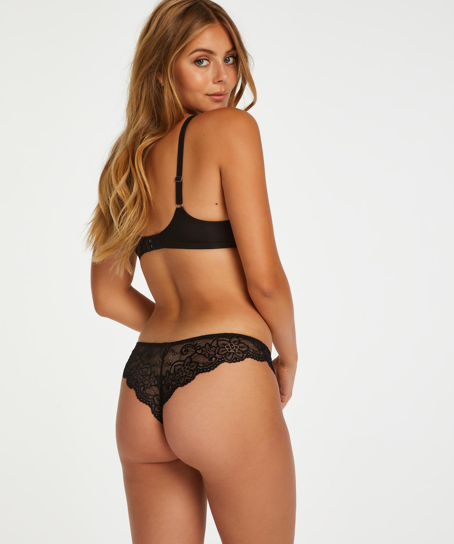Brasileña Rosie wetlook lace, Negro, main