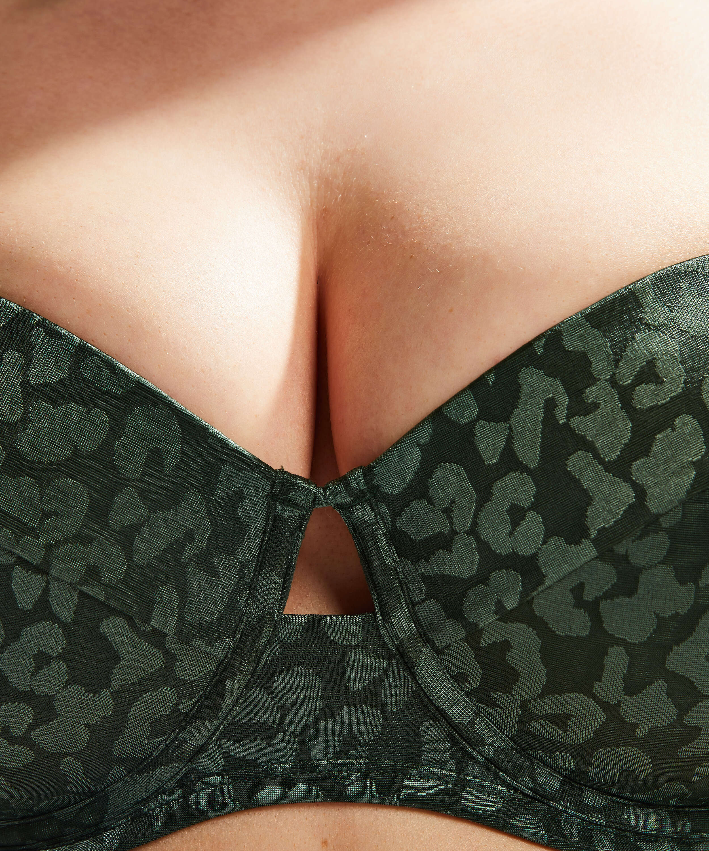 Top de bikini de aros preformado Tonal Leo Copa E +, Verde, main