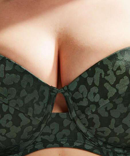 Top de bikini de aros preformado Tonal Leo Copa E +, Verde