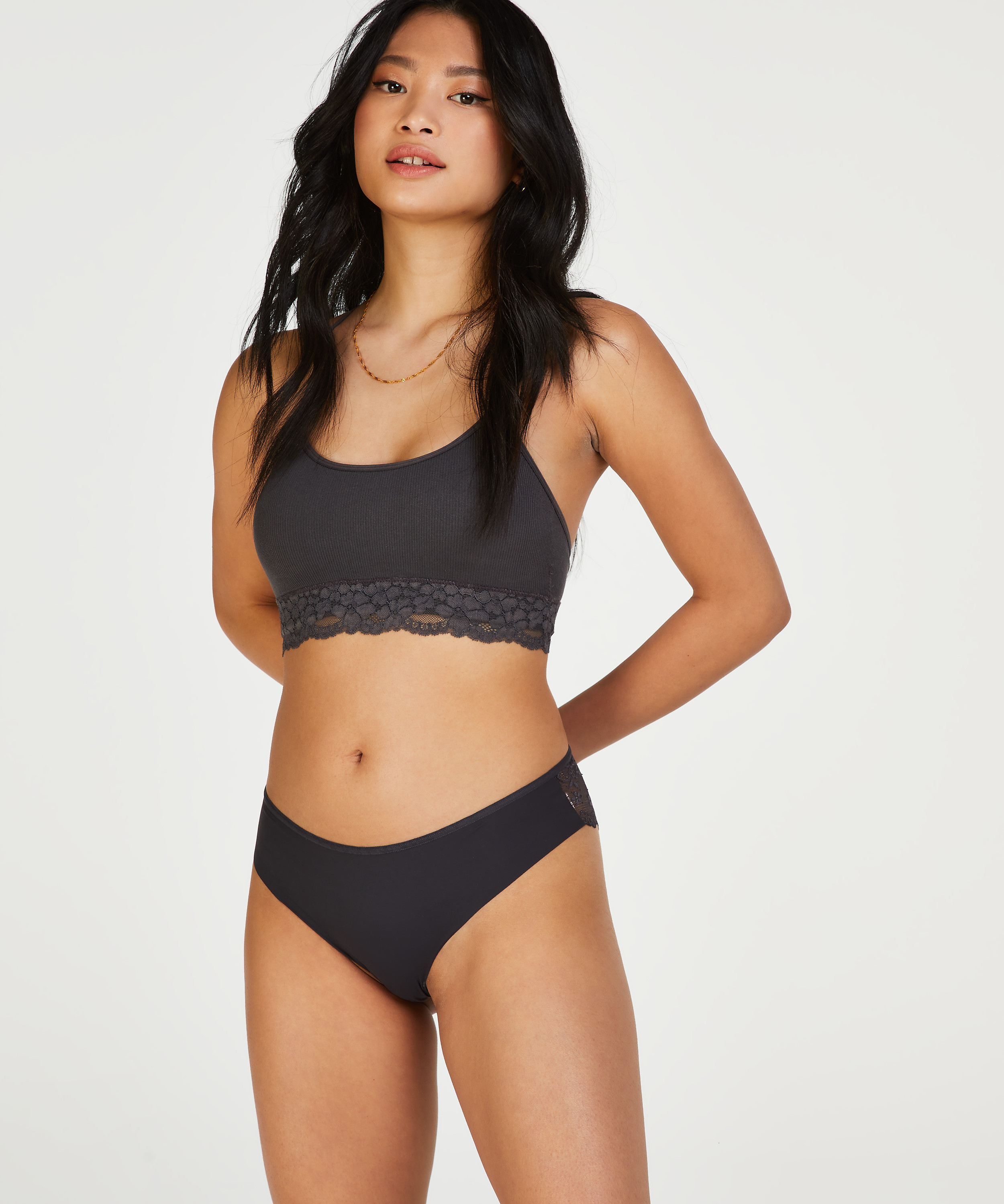Brasileña Invisible Lace Back, Gris, main