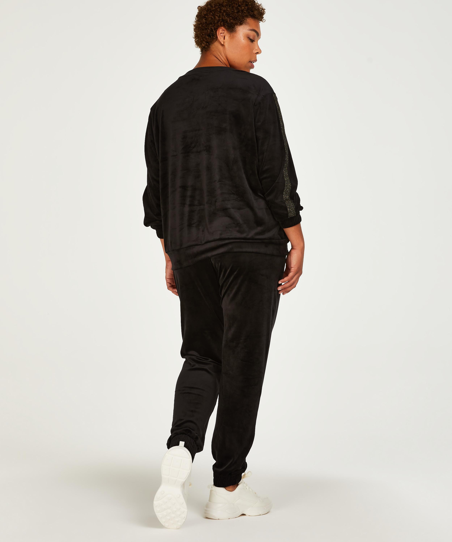 Pantalón para correr de terciopelo Lurex, Negro, main