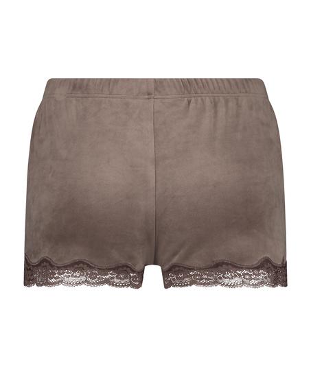 Pantalón corto de terciopelo y encaje, marrón