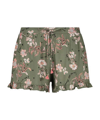 Pantalón corto de pijama de tejido de punto, Verde