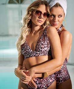 Top de bikini triangular Leopard, Negro