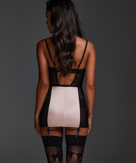 Vestido lencero con aros preformado Amelia, Negro
