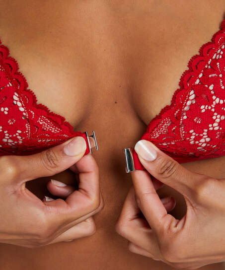 Bralette triangular preformado Rose, Rojo