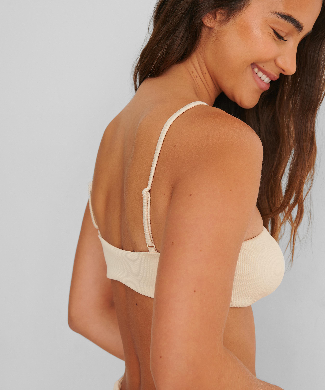 Bikini croptop con textura HKM x NA-KD, Blanco, main