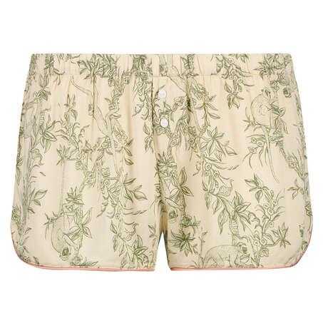 Pantalón de pijama corto tejido, Beige