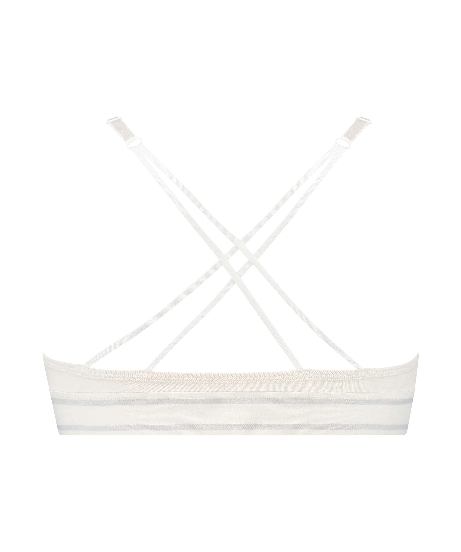 Bralette triangular preformada de algodón Casey, Blanco, main