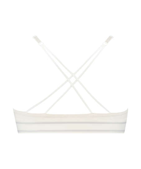 Bralette triangular preformada de algodón Casey, Blanco