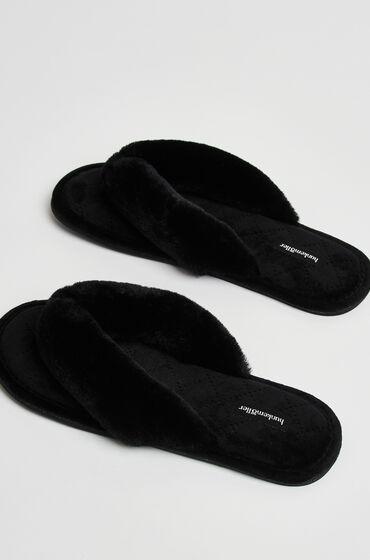 Hunkemöller Pantuflas de terciopelo y piel sintética Negro