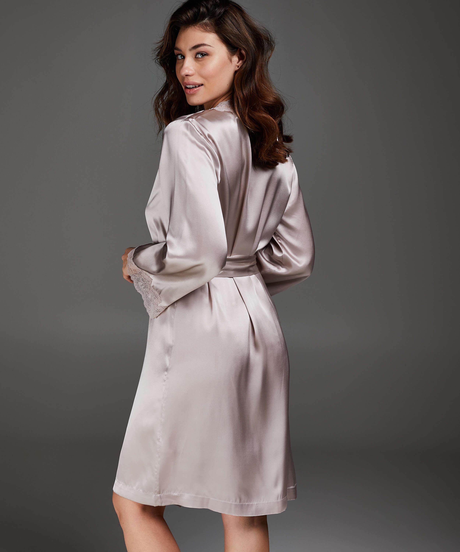 Kimono de seda y encaje trim, Rosa, main