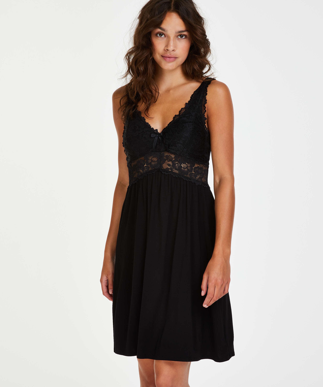 Vestido combinación Modal Lace, Negro, main