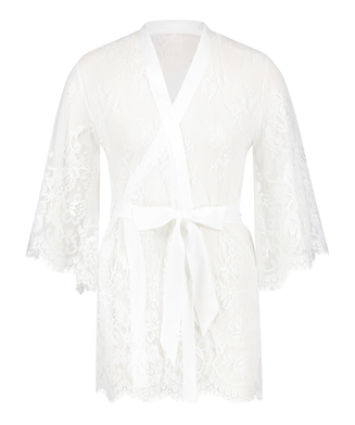 Kimono de encaje Isabelle, Blanco