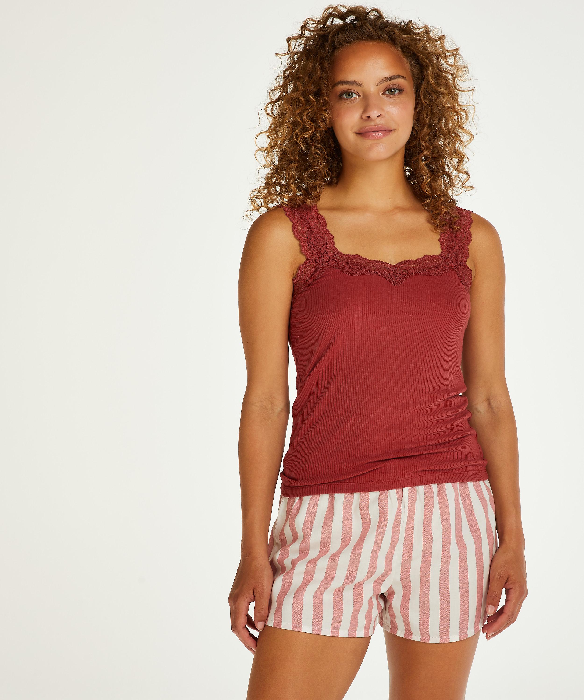 Pantalón corto de pijama Chambray a rayas, Rosa, main