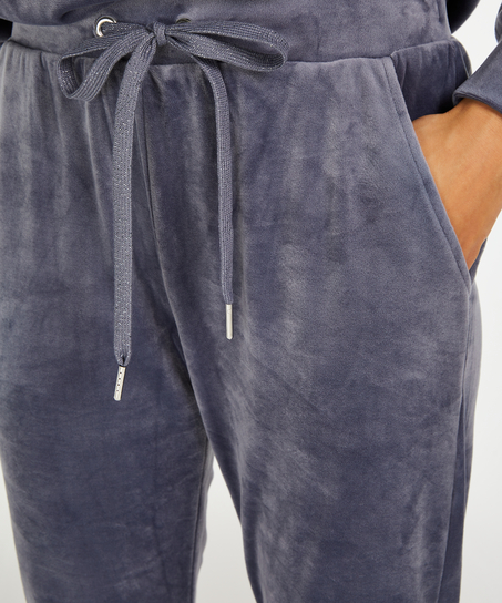 Pantalón para correr de terciopelo Lurex, Gris