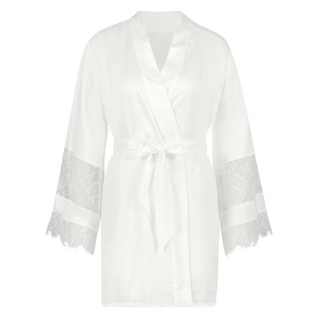 Kimono de satén Bridal, Blanco