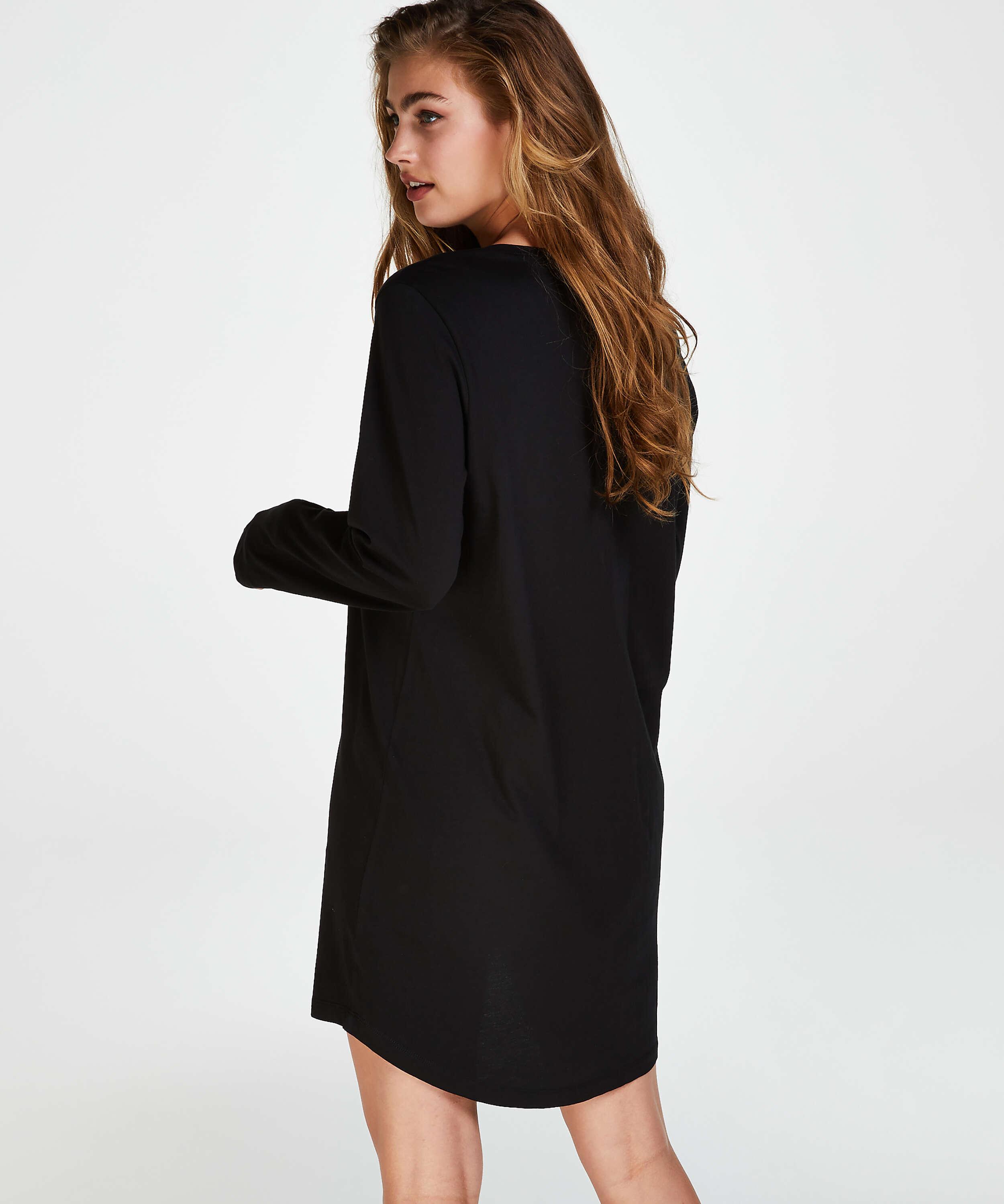 Camisón de cuello redondo, Negro, main