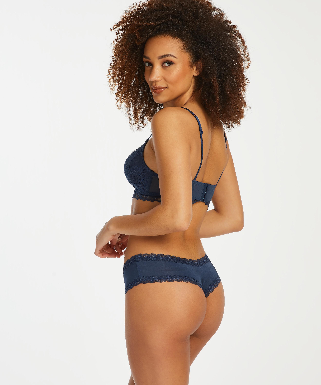 Brasileña en forma de V burn-out mesh, Azul, main