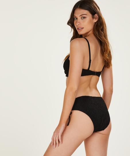 Top de bikini bandeau con relleno Crochet, Negro