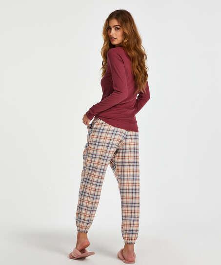 Top de pijama de manga larga, Rojo