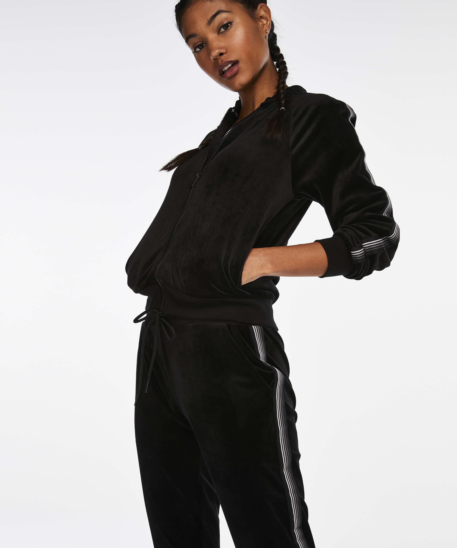 Pantalón deportivo HKMX terciopelo, Negro, main