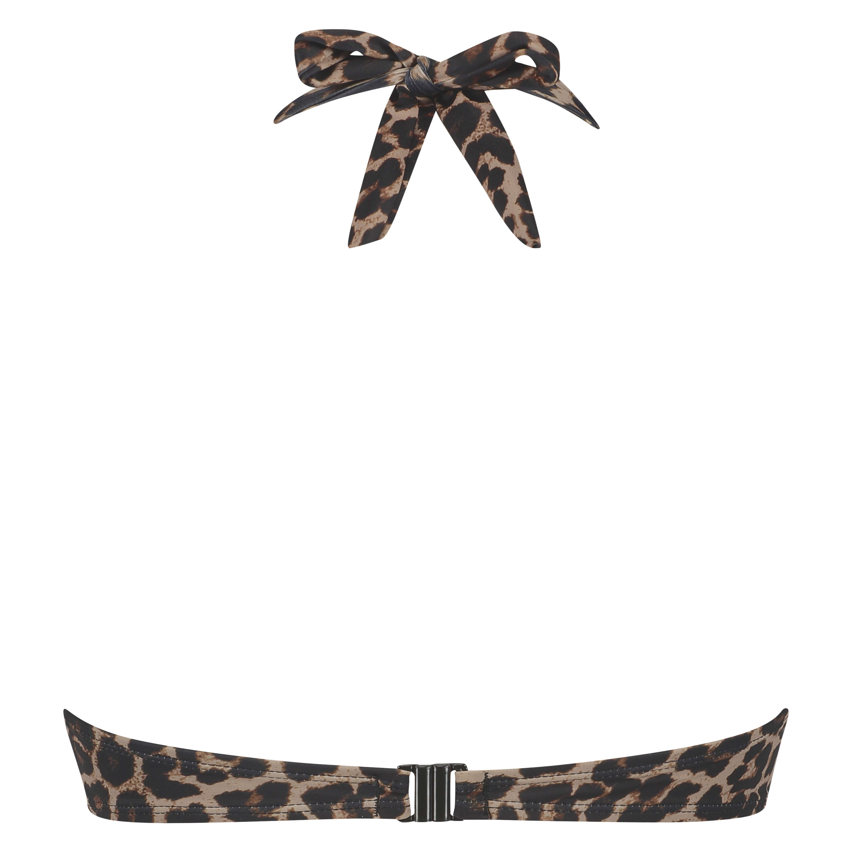 Top de bikini de aros push-up preformado Leopard, Beige, main