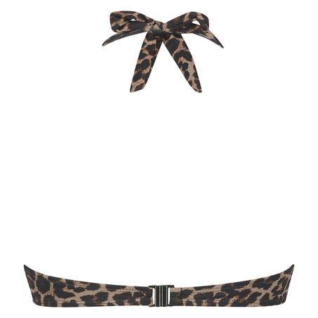 Top de bikini de aros push-up preformado Leopard, Beige