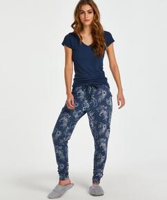 Top de pijama de manga corta., Azul