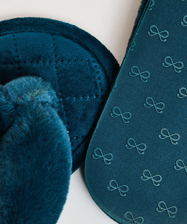 Pantuflas de terciopelo y piel sintética, Verde, main