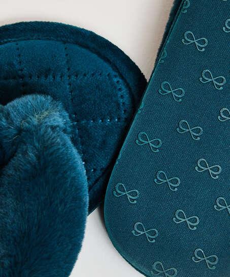 Pantuflas de terciopelo y piel sintética, Verde