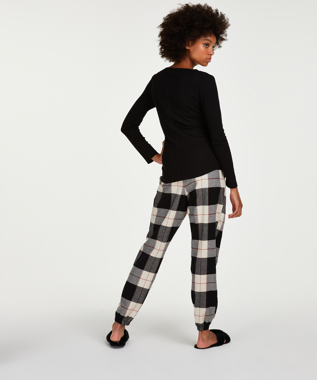 Pantalón de pijama Twill Check, Negro, main