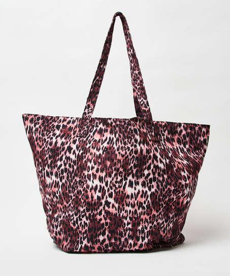Bolsa de playa Leopardo, marrón