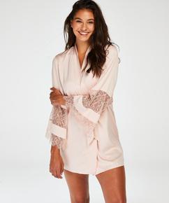 Kimono de satén y encaje, Rosa