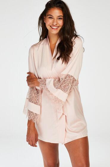 Hunkemöller Kimono de satén y encaje Rosa