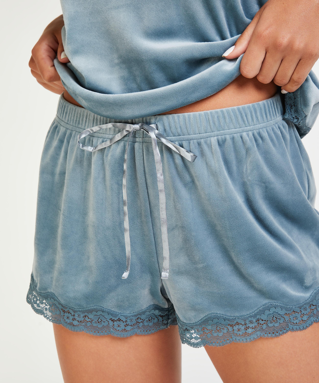 Pantalón corto de terciopelo y encaje, Azul, main